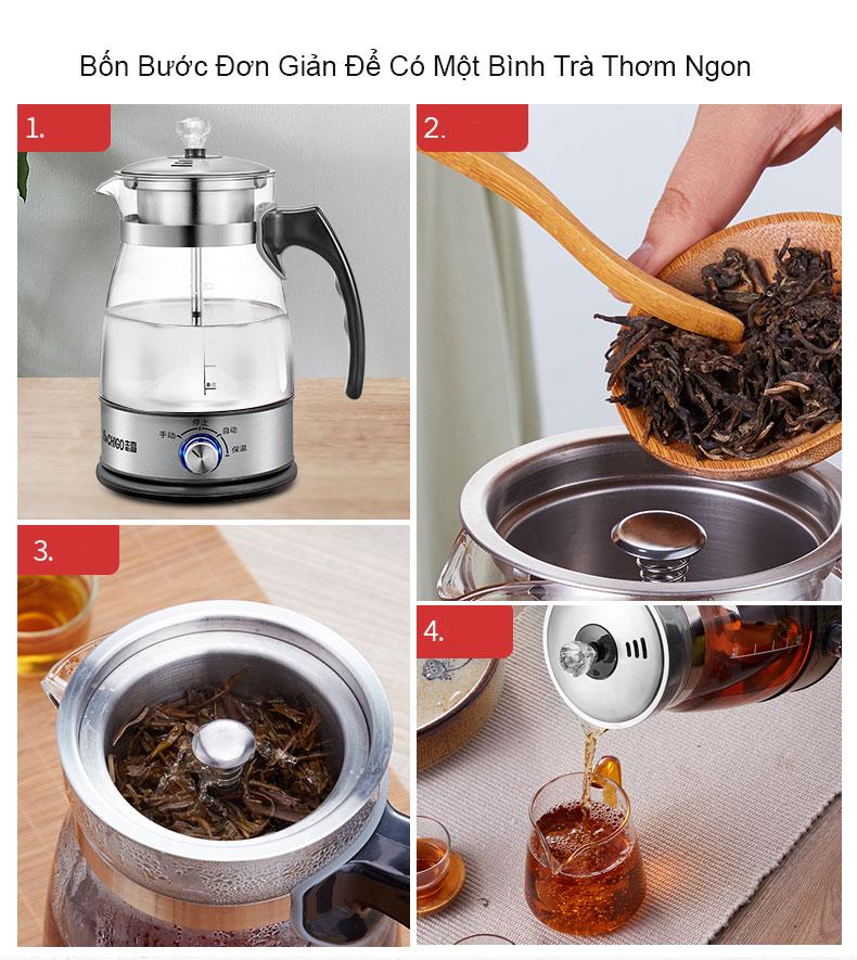 Bình Pha Trà Cafe Thủy Tinh Siêu Tốc CHIGO, Với 3 Chế Độ Đun Thông Minh - Hàng Chính Hãng