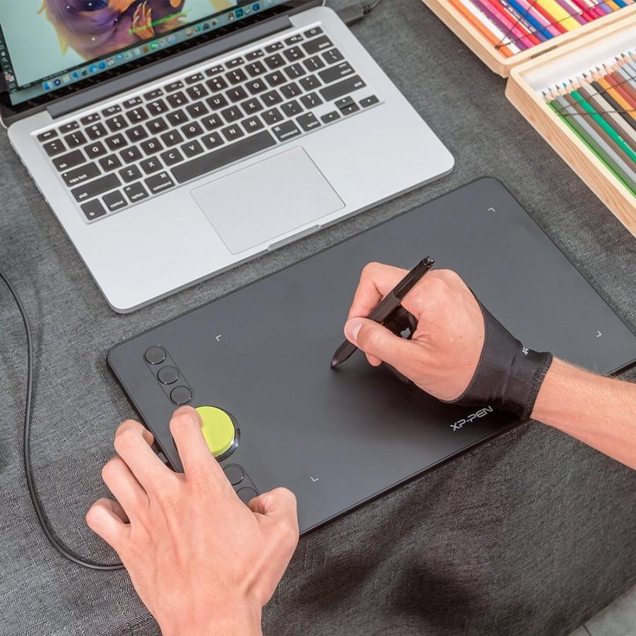 Bảng Vẽ Điện Tử XP-Pen Deco 02 6x10inch Vòng Xoay Dial Bạc, Lực Nhấn 8192 Mức, 6 Phím Tắt Kèm Găng Tay Họa Sĩ - Hàng Chính Hãng