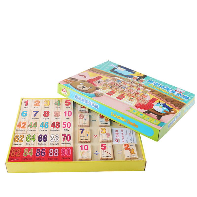 Domino tính toán 100 miếng đồ chơi gỗ cho bé