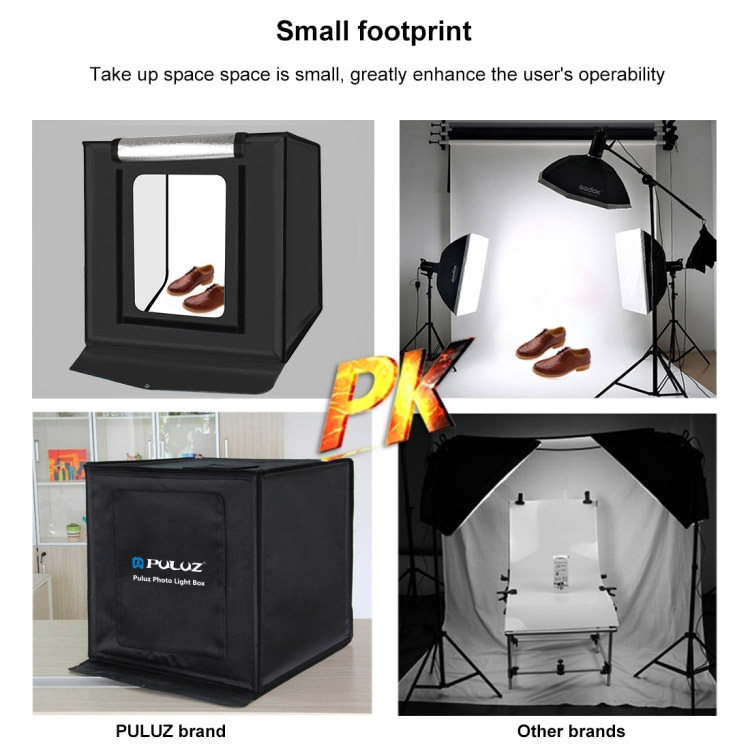 Hộp chụp sản phẩm studio chuyên nghiệp gấp gọn kèm đèn LED 40cm x 40 cm x 40cm Promax Puluz PU5040EU