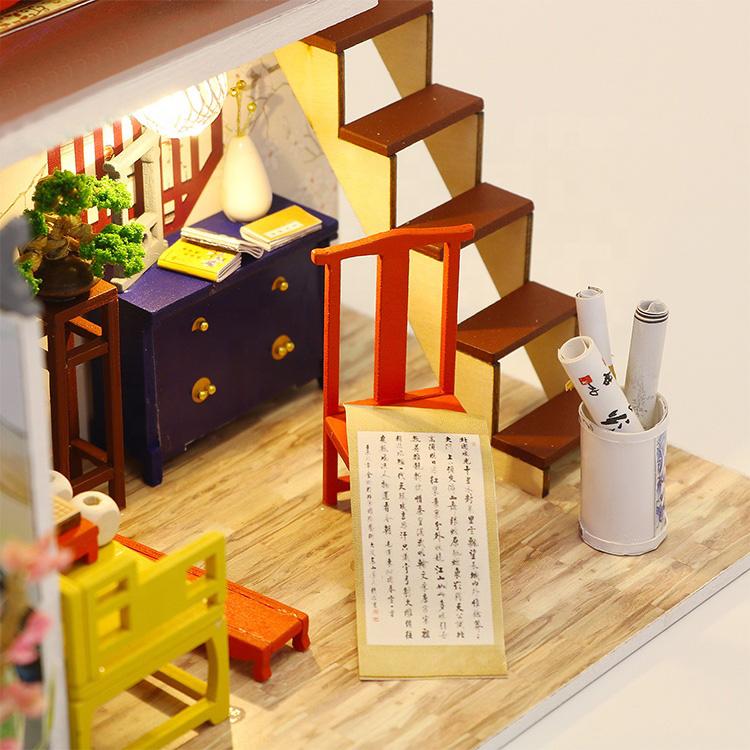 Mô hình nhà DIY Doll House Leisurely Jiangnan Kèm Đèn LED và Mica chống bụi