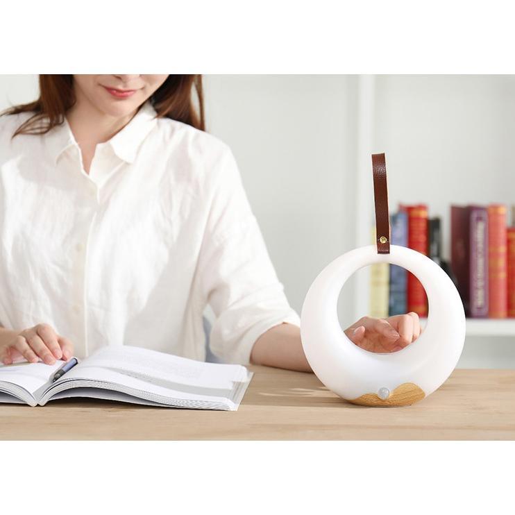 Đèn để bàn tích điện 2200mA, cảm ứng chạm điều khiển nhiều mức sáng, đọc sách, đèn ngủ tròn led đen