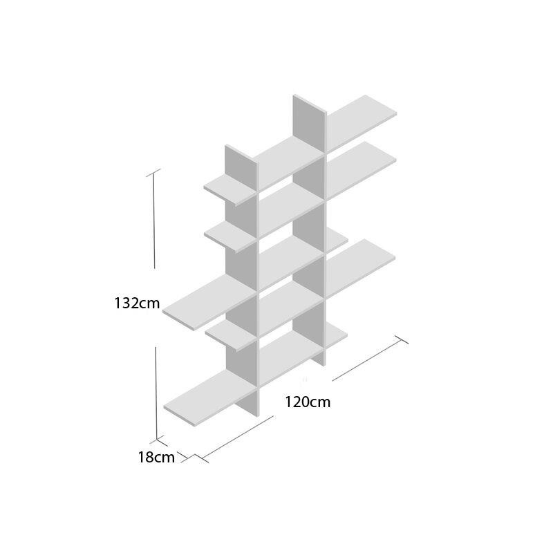 Kệ Sách Treo Tường Bất Đối Xứng Màu Trắng KT334