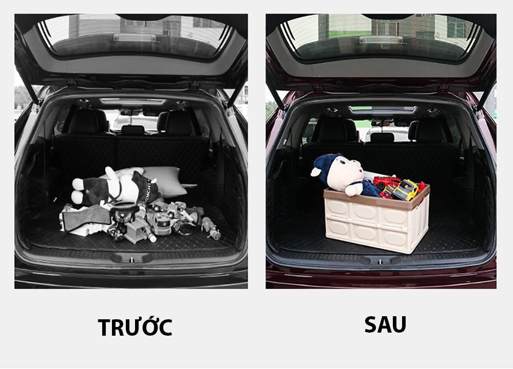 Thùng đựng đồ Ô Tô để cốp có thể gập gọn có nắp đậy, dùng để đựng đồ chơi trẻ em, đồ đi chợ, siêu  thị, đồ chơi khi đi dã ngoại hay pic nic để xe bạn gọn gàng hơn khi di chuyển - dung tích55L