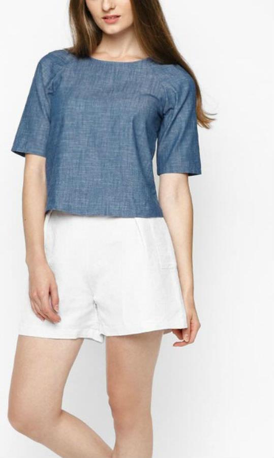 Áo Kiểu Nữ Denim Blouse Mint Basic - Xanh Da Trời Nhạt