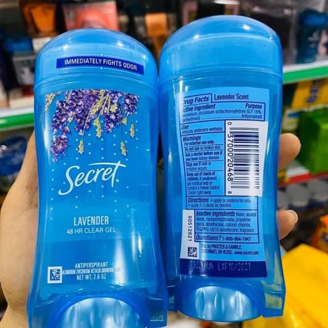 Lăn khử mùi nữ Secret Clear Gel Luxe Lavender 73g ngăn mồ hôi- Mỹ