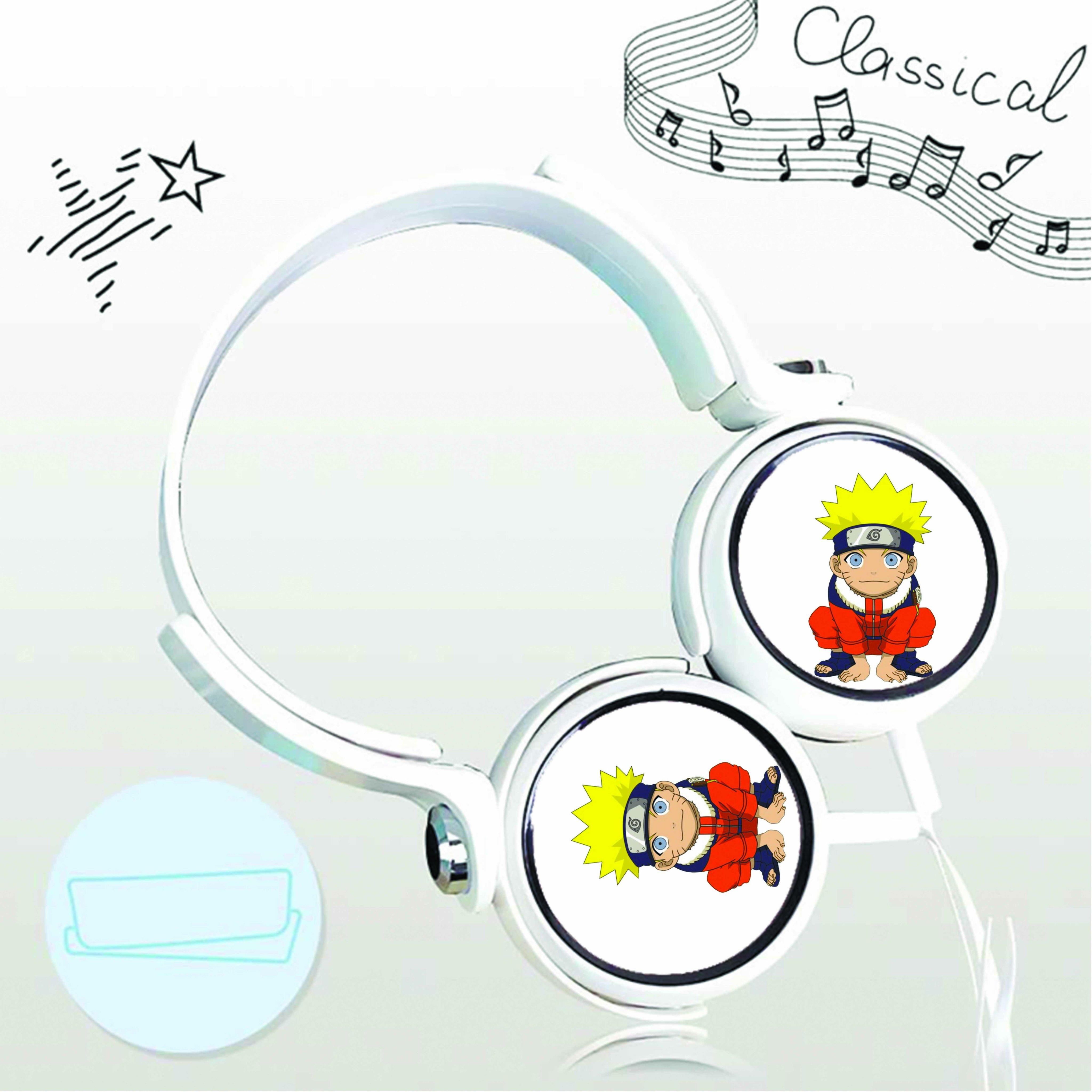 Tai nghe chụp in hình Naruto anime cắm dây có mic