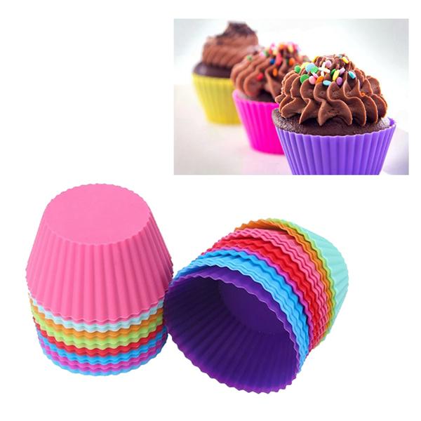 Bộ 10 khuôn silicon cupcake tròn 6,5cm