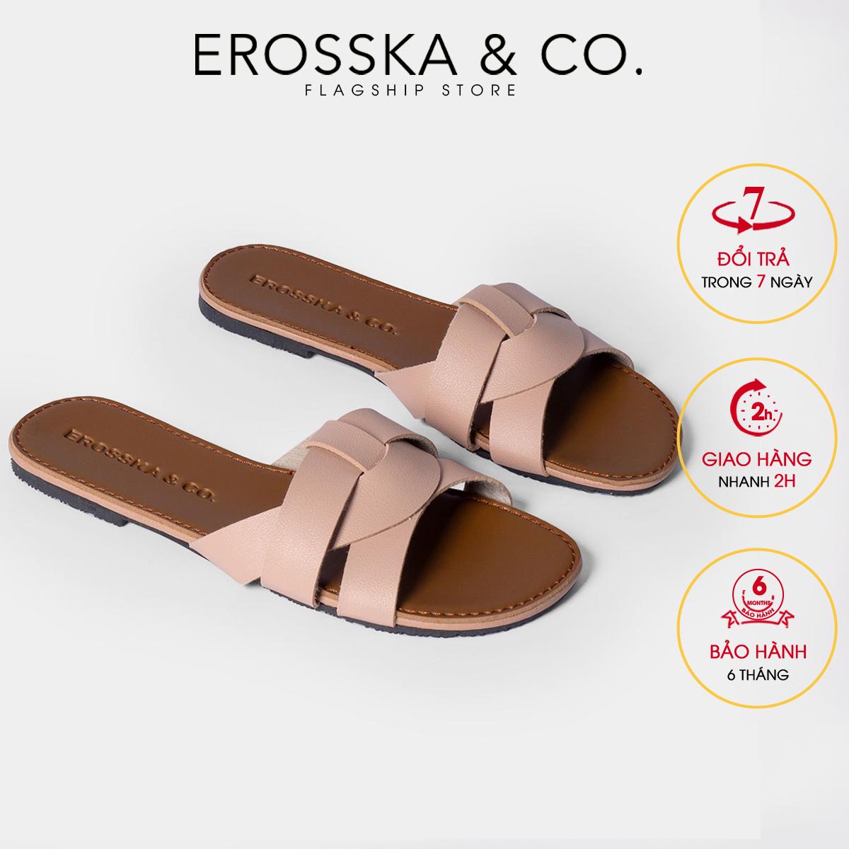 Dép nữ thời trang Erosska quai ngang đan chéo đế bệt kiểu dáng đơn giản DE028