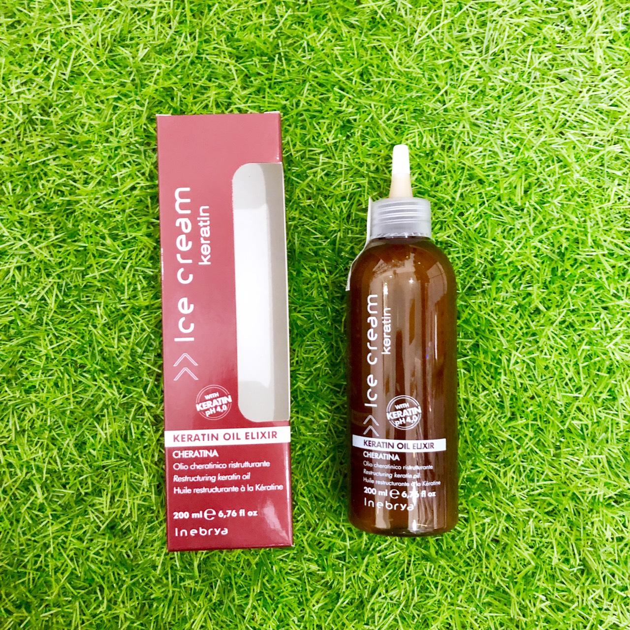 Tinh chất Keratin INEBRYA Ice-Cream Elixir Oil phục hồi tóc hư tổn khô xơ Italy 200ml