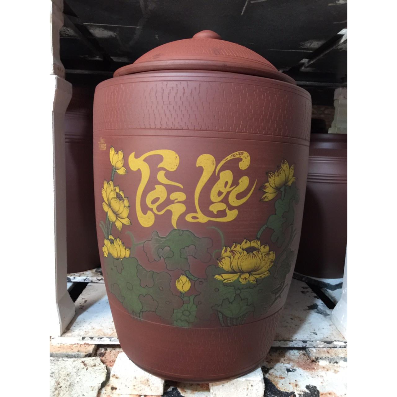 Hũ đựng gạo tài lộc vẽ sen 15kg gốm Gia Hưng Bát Tràng
