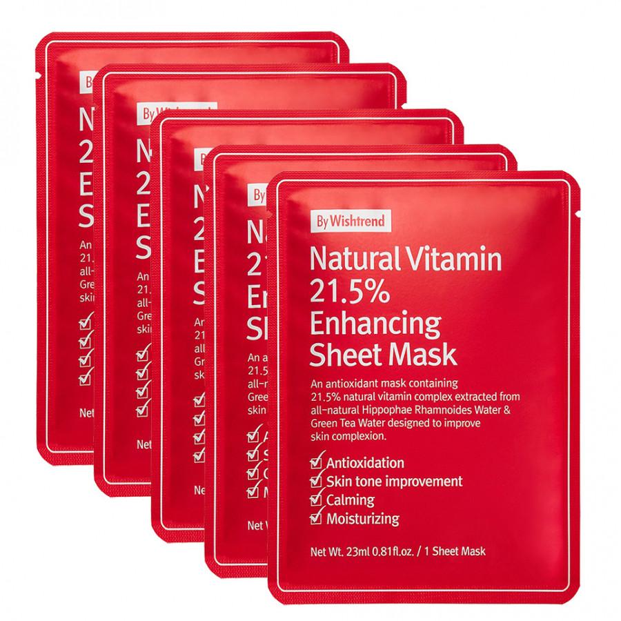Combo 5 Mặt nạ giấy dưỡng trắng da làm mờ vết thâm By Wishtrend Natural Vitamin C 21.5 Enhancing Sheet Mask 23g x5