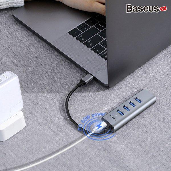 Hub chuyển Baseus Enjoy Series Type C to 4 Port USB 3.0 + Type C PD (intelligent HUB Adapter)- Hàng nhập khẩu
