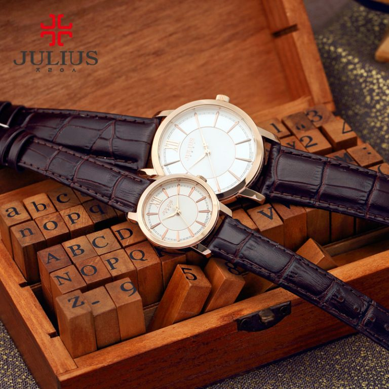 Đồng Hồ Nữ JA-808LD Julius Hàn Quốc Dây Da (Nâu Đồng)