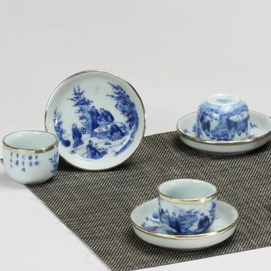 Bộ ấm chén men lam bọc đồng lõm chính hãng gốm sứ Bảo Khánh Bát Tràng - bình trà, bộ bình uống trà cao cấp