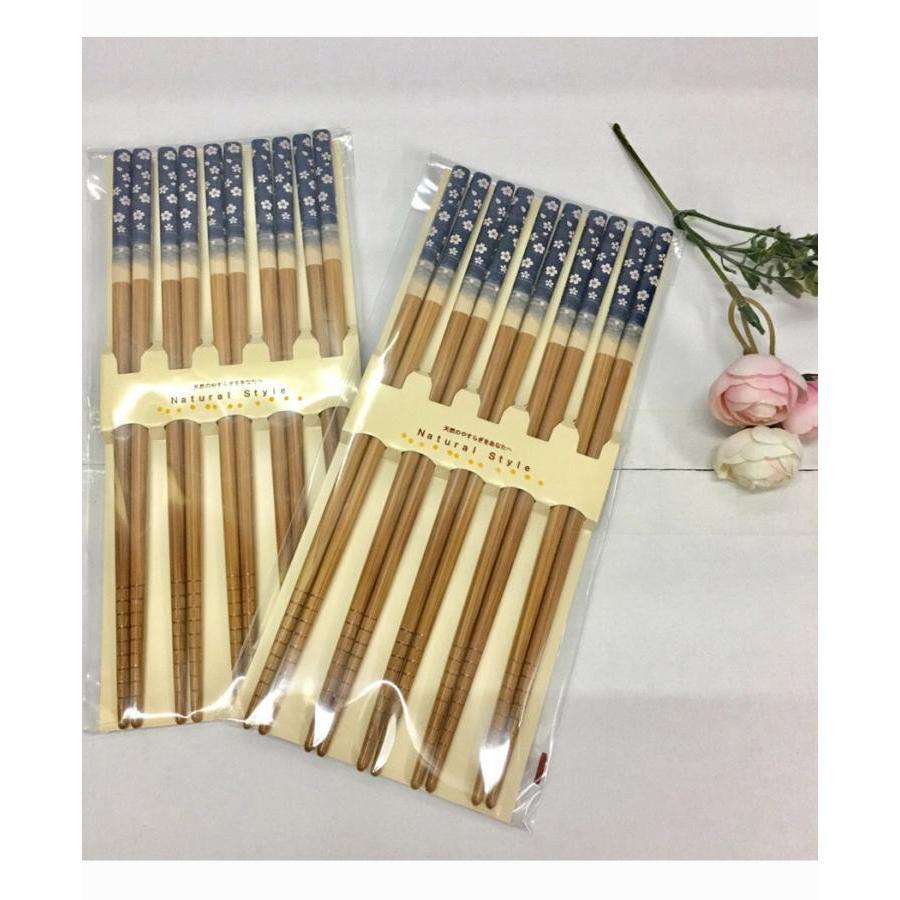 Set 5 đôi đũa hoa xanh nội địa Nhật Bản