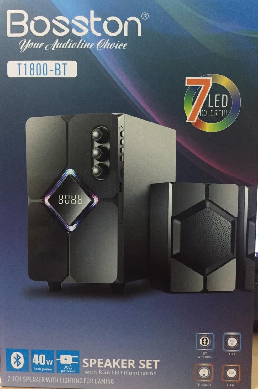 Loa vi tính 2.1 kiêm Bluetooth USB thẻ nhớ Bosston T1800-BT 40W led RGB 7 màu, dùng nguồn 220V (Đen) - Hàng Chính Hãng