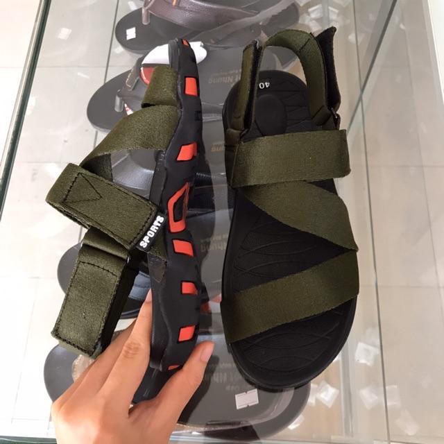 Sandal nam quai dù thời trang màu xanh rêu