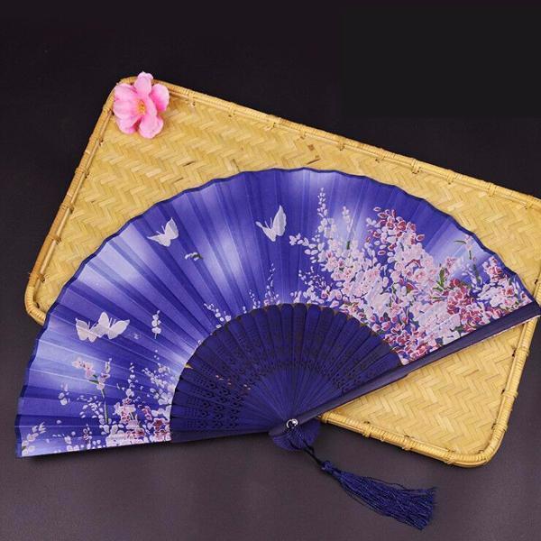 Quạt cổ trang dây tuyến điệp luyến hoa quạt xếp cầm tay phong cách Trung Quốc quạt trúc cầm tay quạt cổ trang in hoa trang trí tặng ảnh thiết kế vcone