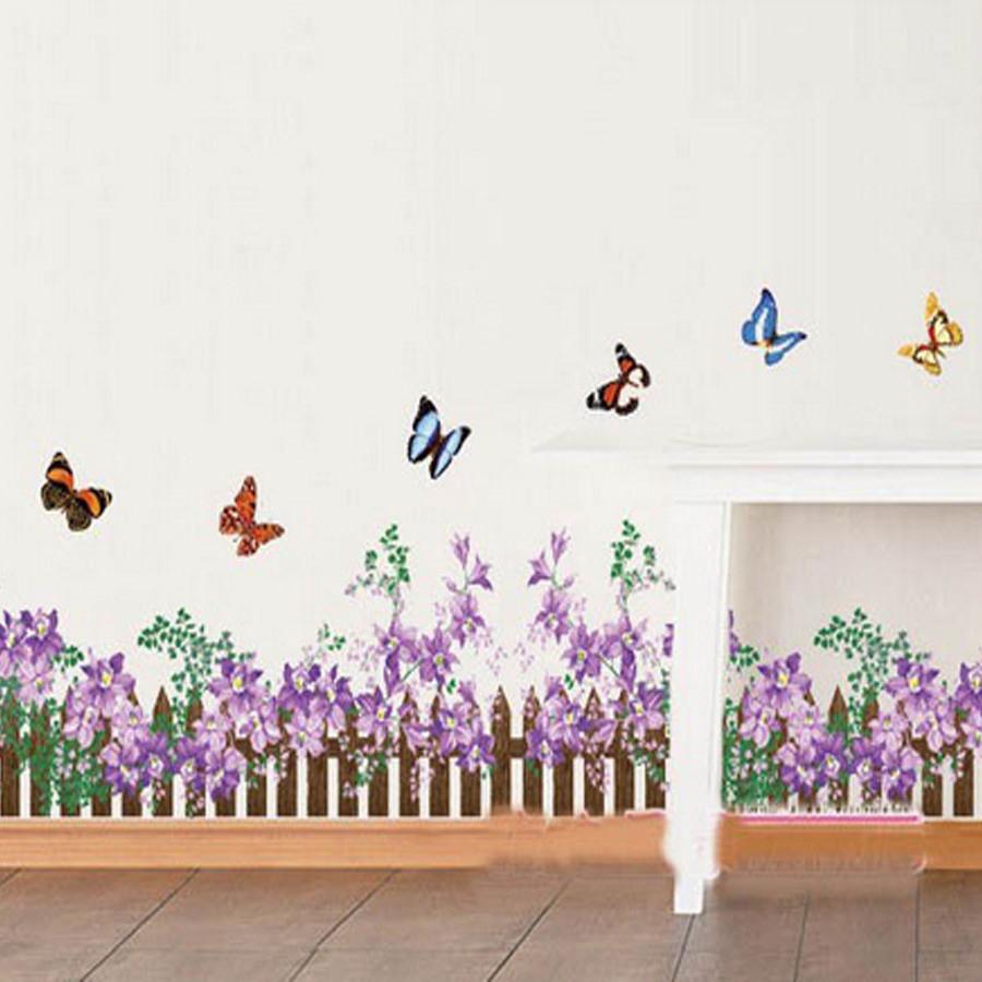 Decal dán tường chân rào hoa tím bông to ay872