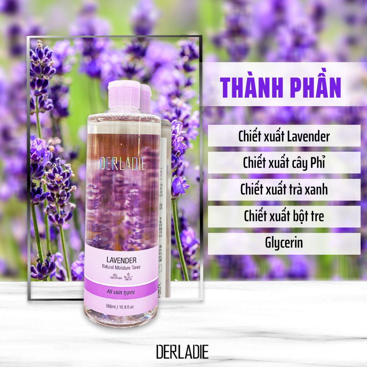 Combo Nước Tẩy Trang và Nước Hoa Hồng Cho Da Dầu Mụn Derladie (Cleansing Water Witch Hazel 500ml + Lavender Toner 500ml)
