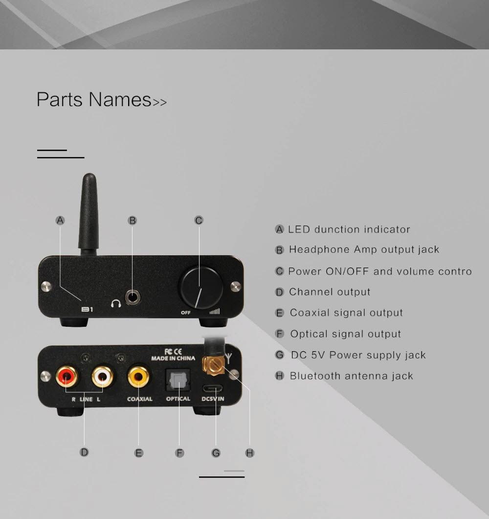 Bộ Giải Mã Âm Thanh DAC Bluetooth 4.2 & NFC, aptX. - Dac Bluetooth 4.2 & NFC, aptX, Audio B1 - B1 HiFi Stereo Audio Bluetooth CSR 4.2 Receiver DAC with NFC AnZ