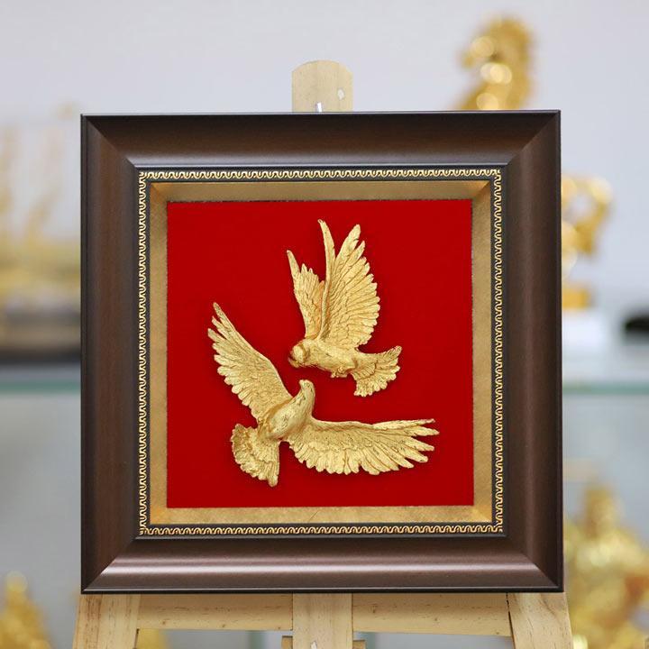 Đôi Tranh Chim Bồ Câu mạ vàng