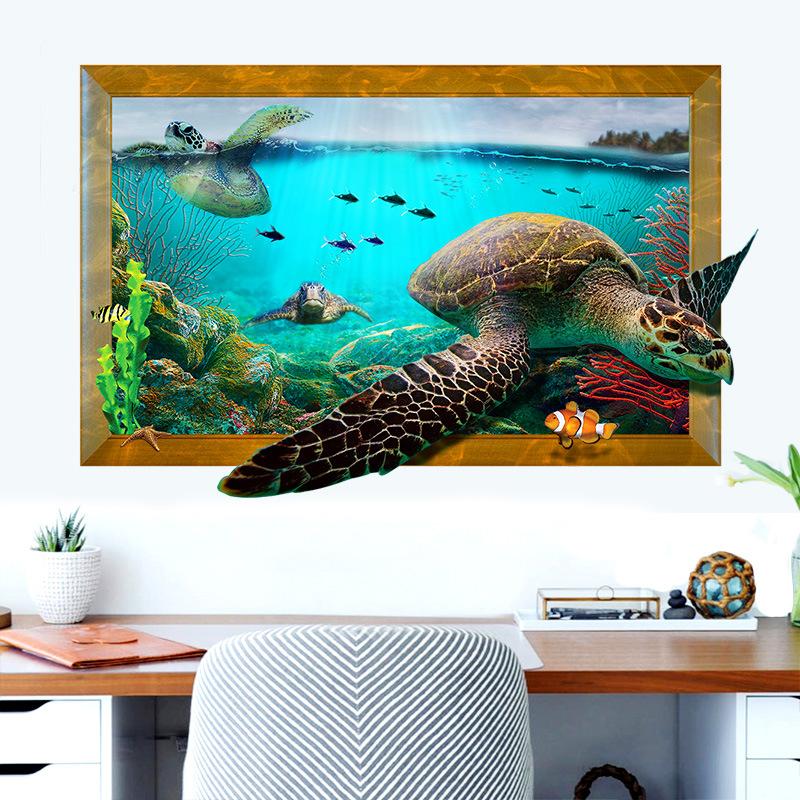 Decal Dán Tường Rùa Biển 3D - AM9265
