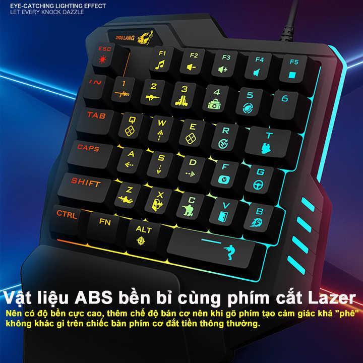 Bàn phím giả cơ FREE WOLF K1 JL chơi game Pubg Mobile, Rules of Survival, Free Fire trên điện thoại, máy tính bảng, Laptop và PC