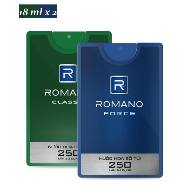 Combo 2 chai nước hoa Bỏ túi Romano Classic, Romano Force (18ml*2)- Mẫu mới