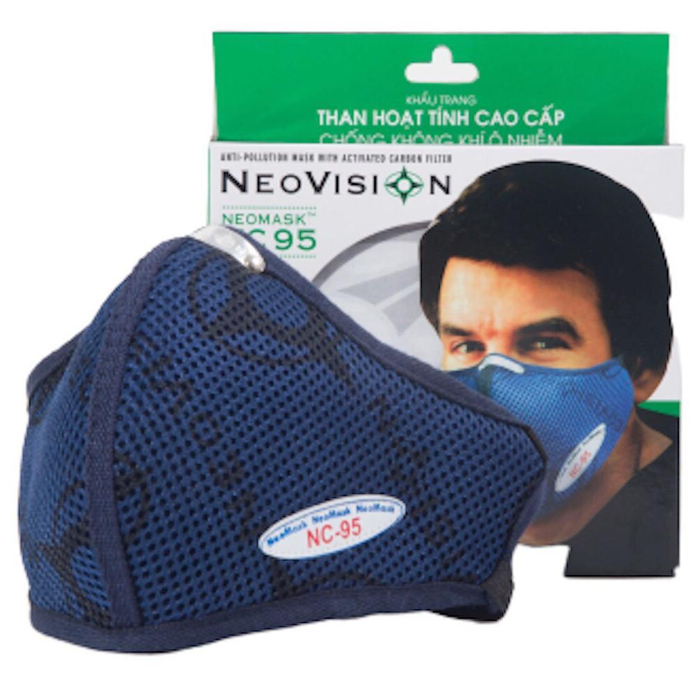 Combo 02 Mặt Nạ - Khẩu trang than hoạt tính NeoVision NeoMask NC95 đạt chuẩn N95 (Thun qua gáy-Có hộp) - Chống bụi siêu mịn PM2.5, lọc khuẩn BFE >95% (Được cấp bởi Nelson Lab), kháng khuẩn, chống giọt bắn có thể giặt tái sử dụng nhiều lần- Xanh đậm