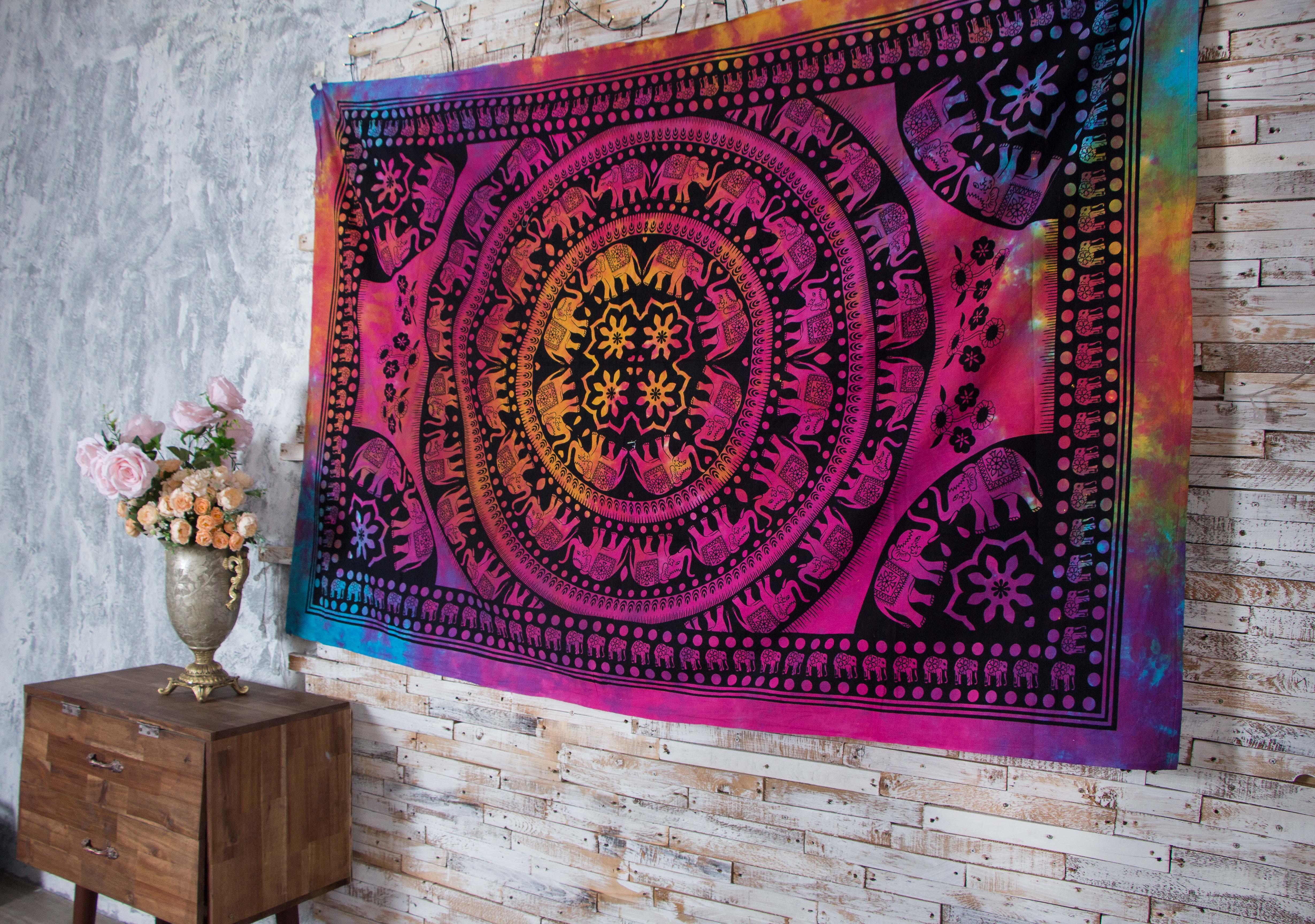 Vải treo tường trang trí hình voi vòng tròn tiedye Indian Tapestry Wallhanging 140cm x 220cm