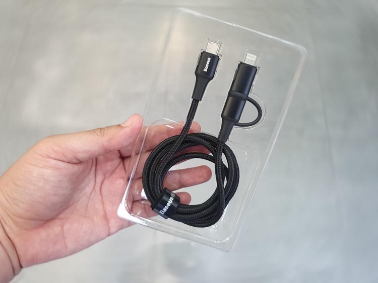 Cáp sạc nhanh Baseus Twins 2 in 1 dùng cho Android/ iPhone/ iPad/ Macbook (Type C to Type-C/ Lightning, 60W PD/ QC3.0 Quick Charge & Sync Data Cable) - Hàng nhập khẩu