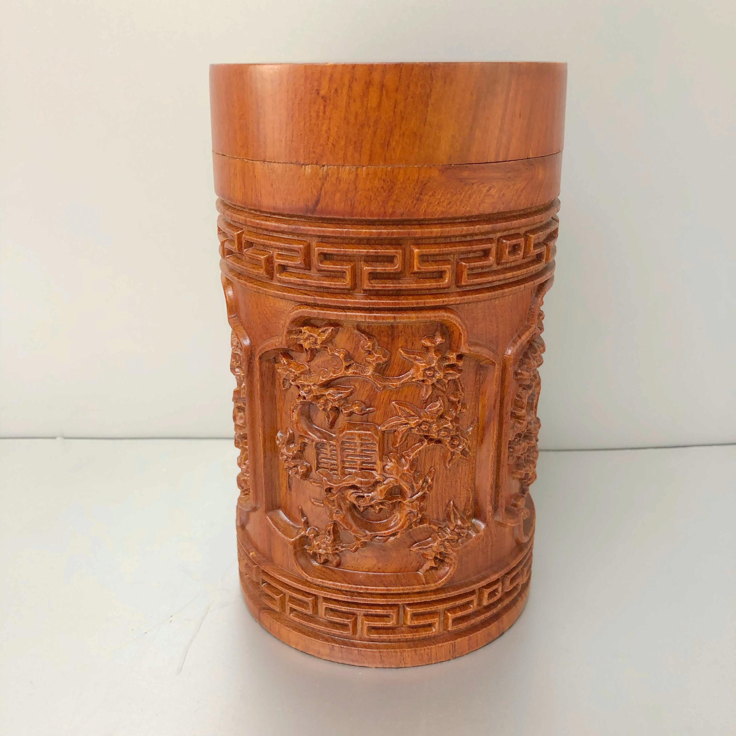 Hộp đựng trà gỗ hương khắc tinh xảo