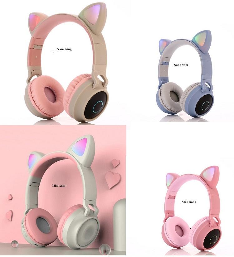 Tai Nghe Bluetooth  Tai Mèo Cá Tính BTC-0028  Vớ 4 Màu Sắc .Đa Dạng, Thoải Mái Lựa Chọn Khoe Cá Tính