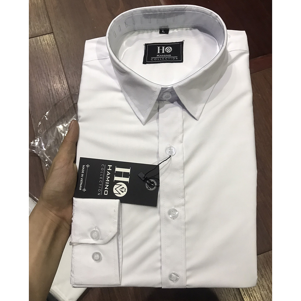 Áo sơ mi nam đen trắng dài tay công sở cao cấp chất vải lụa co giãn nhẹ form slimfit ôm dáng thời trang Hàn Quốc, áo sơ mi nam dài tay đen trắng lụa cao cấp công sở Hàn Quốc