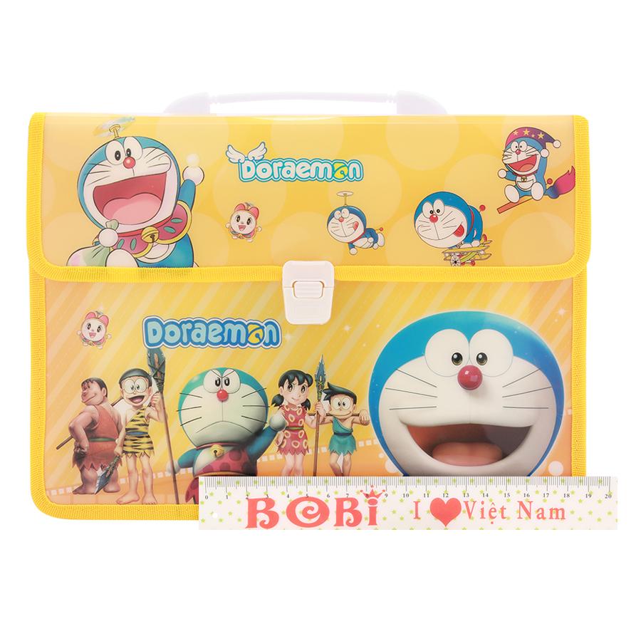 Combo Cặp Học Sinh 2 Ngăn Và Thước Nhựa - Hình Doraemon