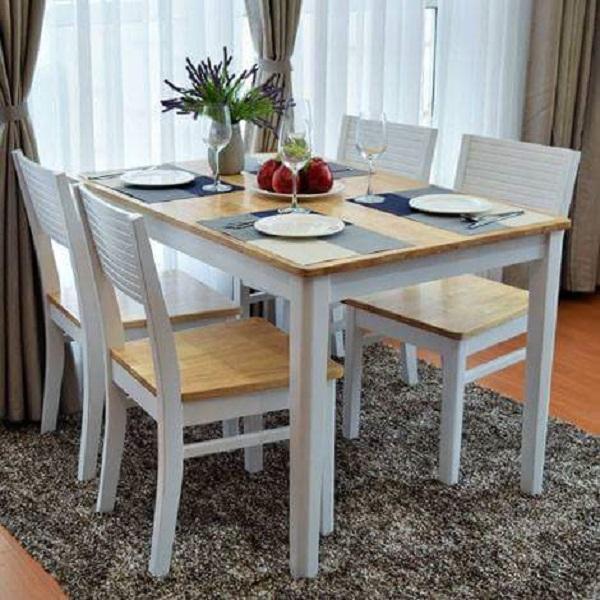 bộ bàn ăn cherry trắng vảng 4 ghế