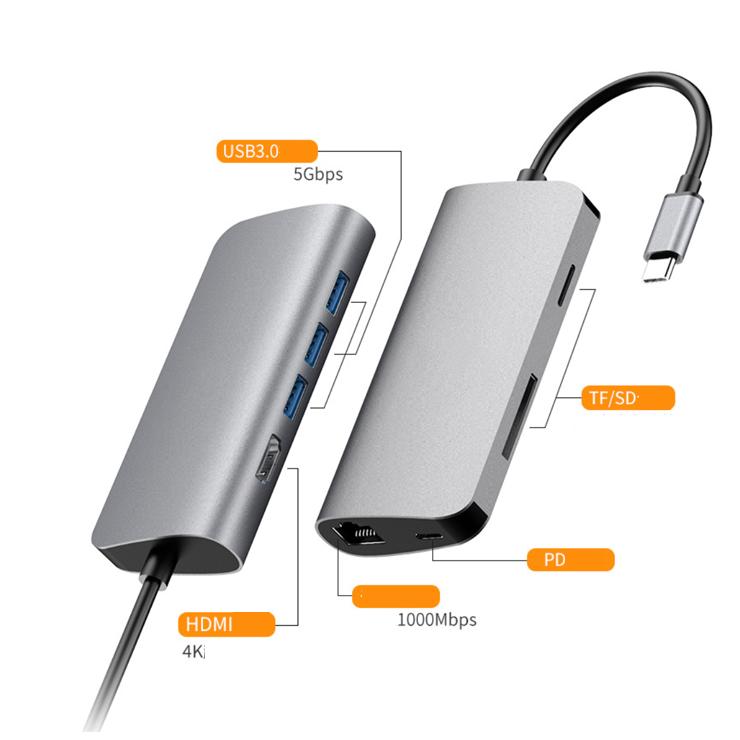 Hub USB Type-C 8 Cổng USB 3.0/HDMI/SD/TF/LAN Gigabit (RJ45) hỗ trợ sạc USB-C