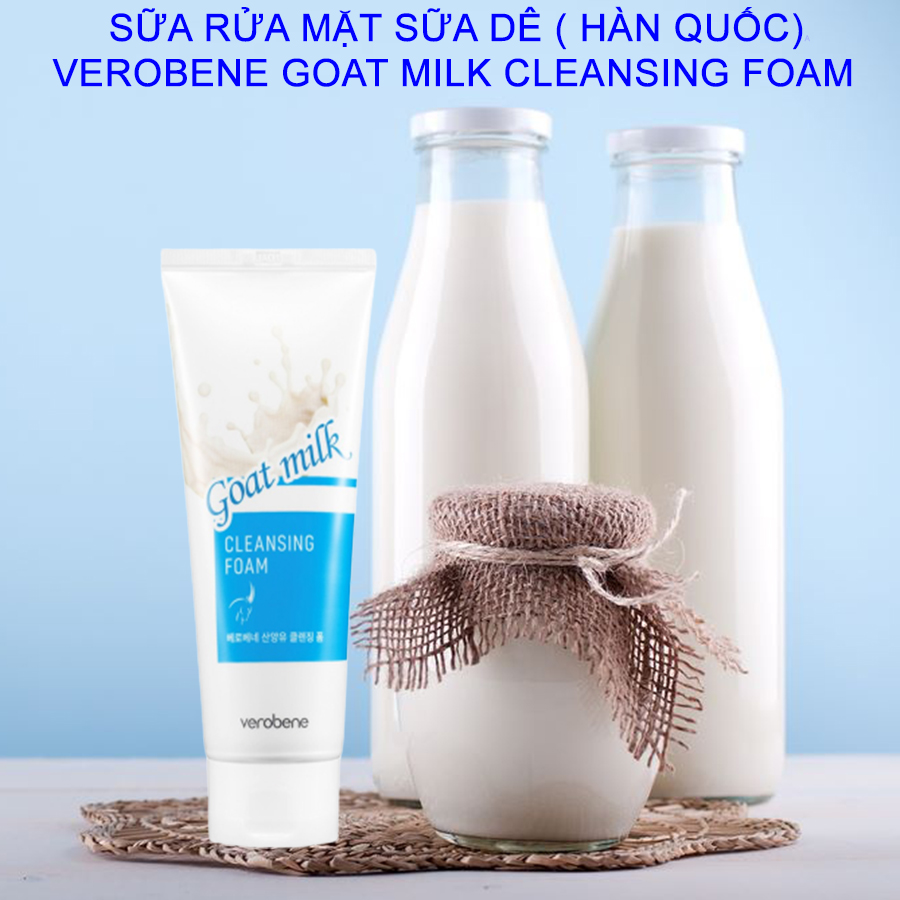 Sữa rửa mặt sữa tươi trắng mịn da Verobene Hàn quốc 150ml/Hộp Và 1 gói tẩy da chết Apple Beauskin 3ml/gói