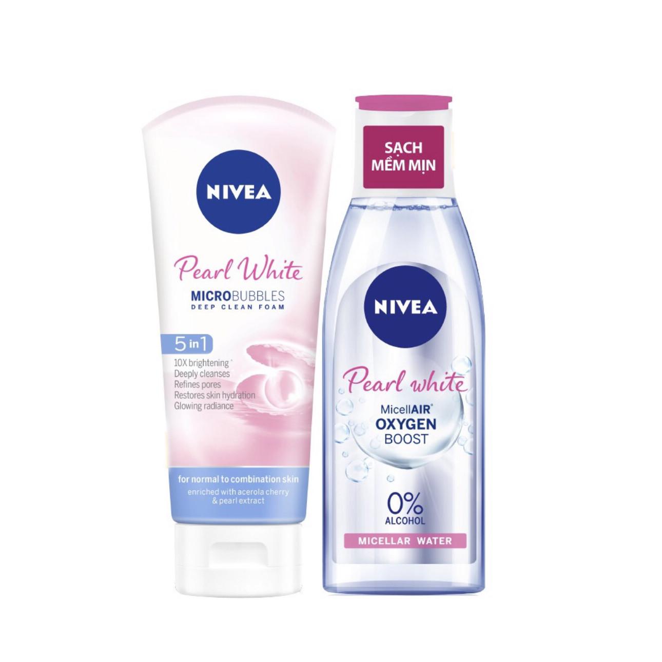 Bộ Đôi Làm Sạch NIVEA Pearl White Trắng Da (Sửa Rửa Mặt 100G + Nước Tẩy Trang Không Cồn 200ml)