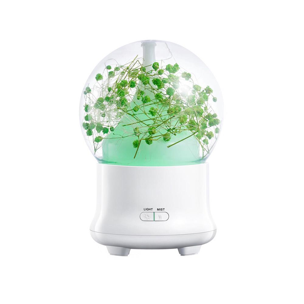 Máy phun sương mini Tú Cầu khuếch tán tinh dầu siêu âm tạo ẩm hoa khô, có đèn LED 7 màu, tặng kèm tinh dầu sả chanh Kobi