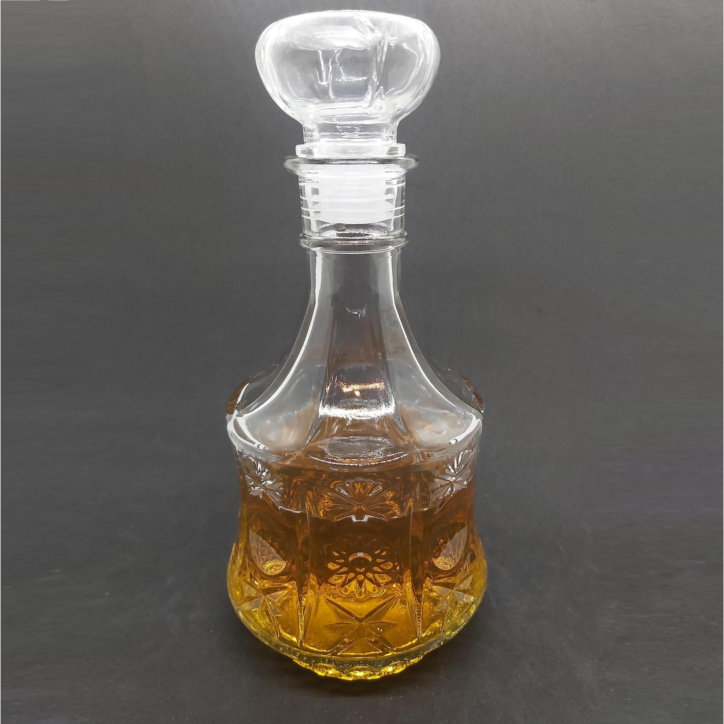 Chai Thủy Tinh đựng Rượu cao cấp Mẫu VÁT TRỤ Hoa Văn Nổi 750ML - Vỏ Chai rượu 750ml