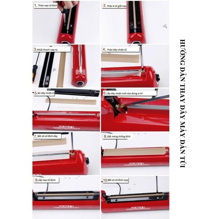 Máy hàn miệng túi đa năng 300x5mm - Hàn túi zip, túi giấy craft, túi nilon PP/PE (300x5mm)(Vỏ nhựa - Đỏ)
