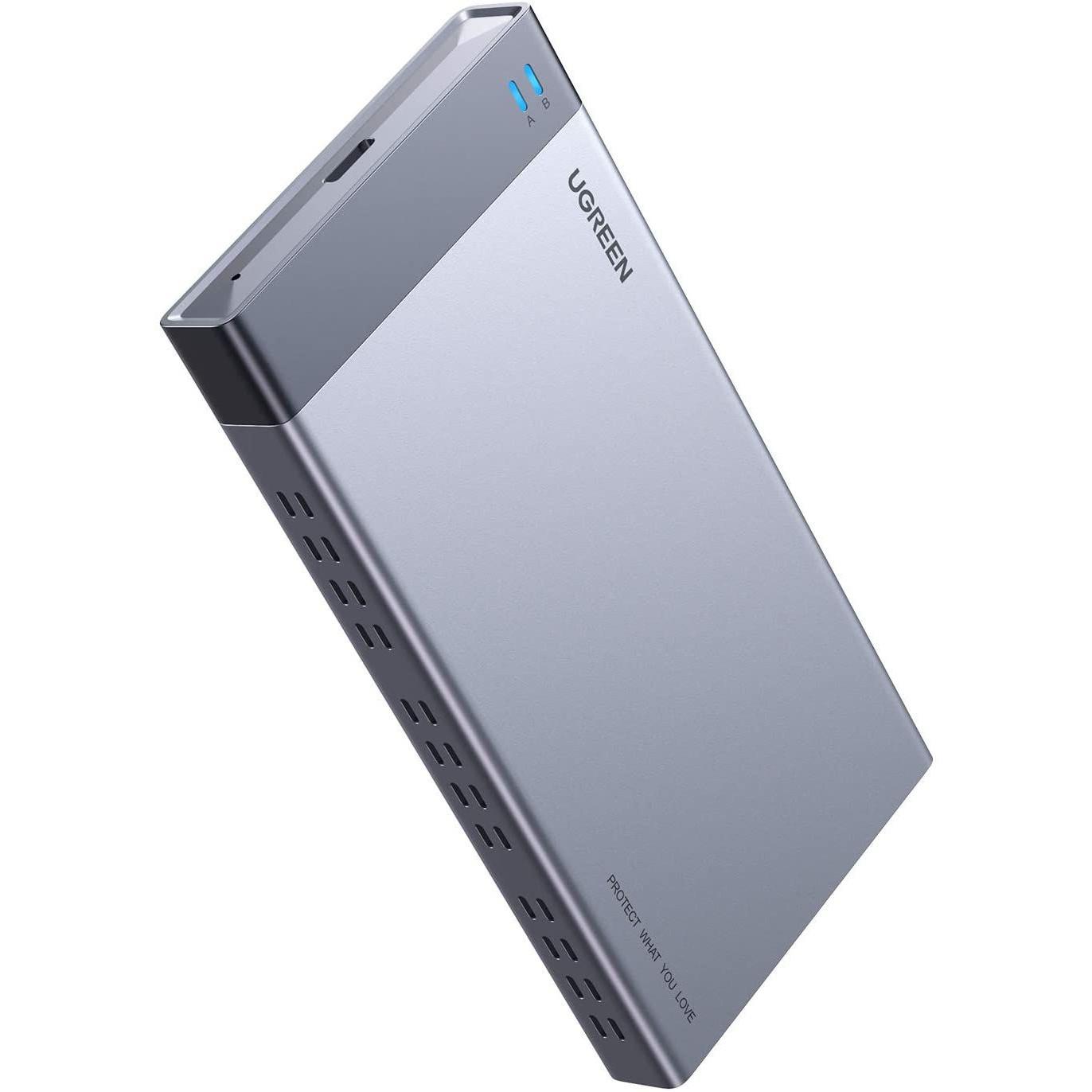 Hộp đựng 2 ổ cứng ssd M.2 B-KEY SATA - NGFF Raid 6Gbps  usb type c 3.1 gen2 CM299 Ugreen 70534 Hàng Chính Hãng