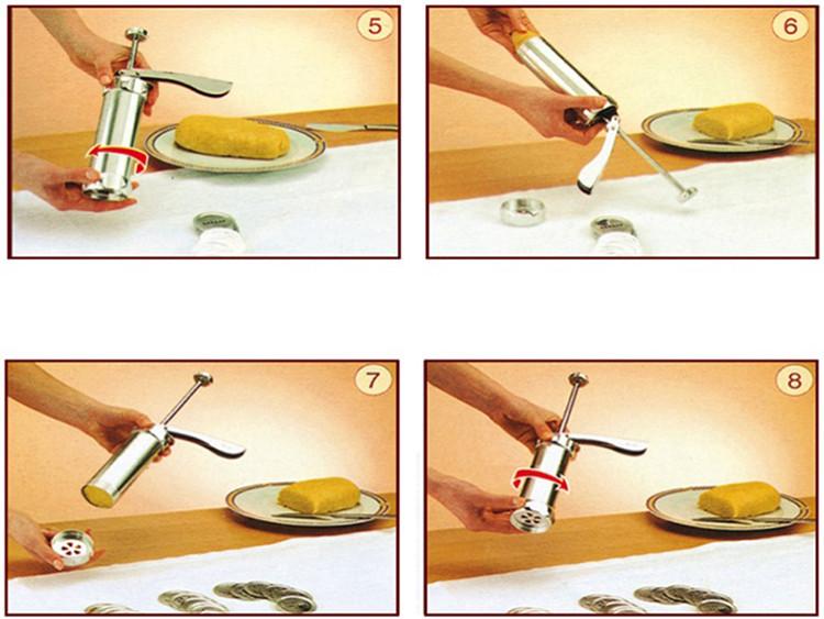Bộ khuôn, Dụng Cụ Tạo kiểu Bánh Quy và bơm kem inox Biscuits 20 đầu tạo kiểu và 4 ống đẩy kem
