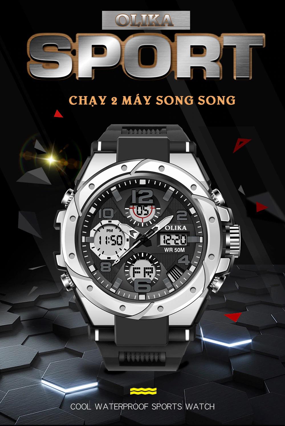 Đồng hồ Nam SANDA MIGER Chuẩn Bền Quân Đội, 2 Máy Chạy Song Song, Chống Nước Rất Tốt