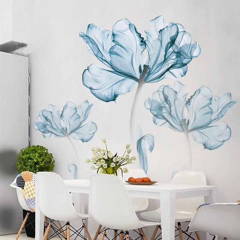 Decal dán tường 3D hoa xanh sang trọng dán được kính