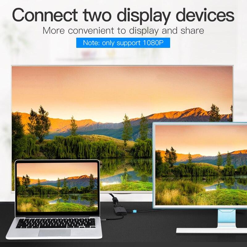 Cáp chuyển đổi Type- C ra HDMI + VGA Vention CGKHA - Hàng chính hãng
