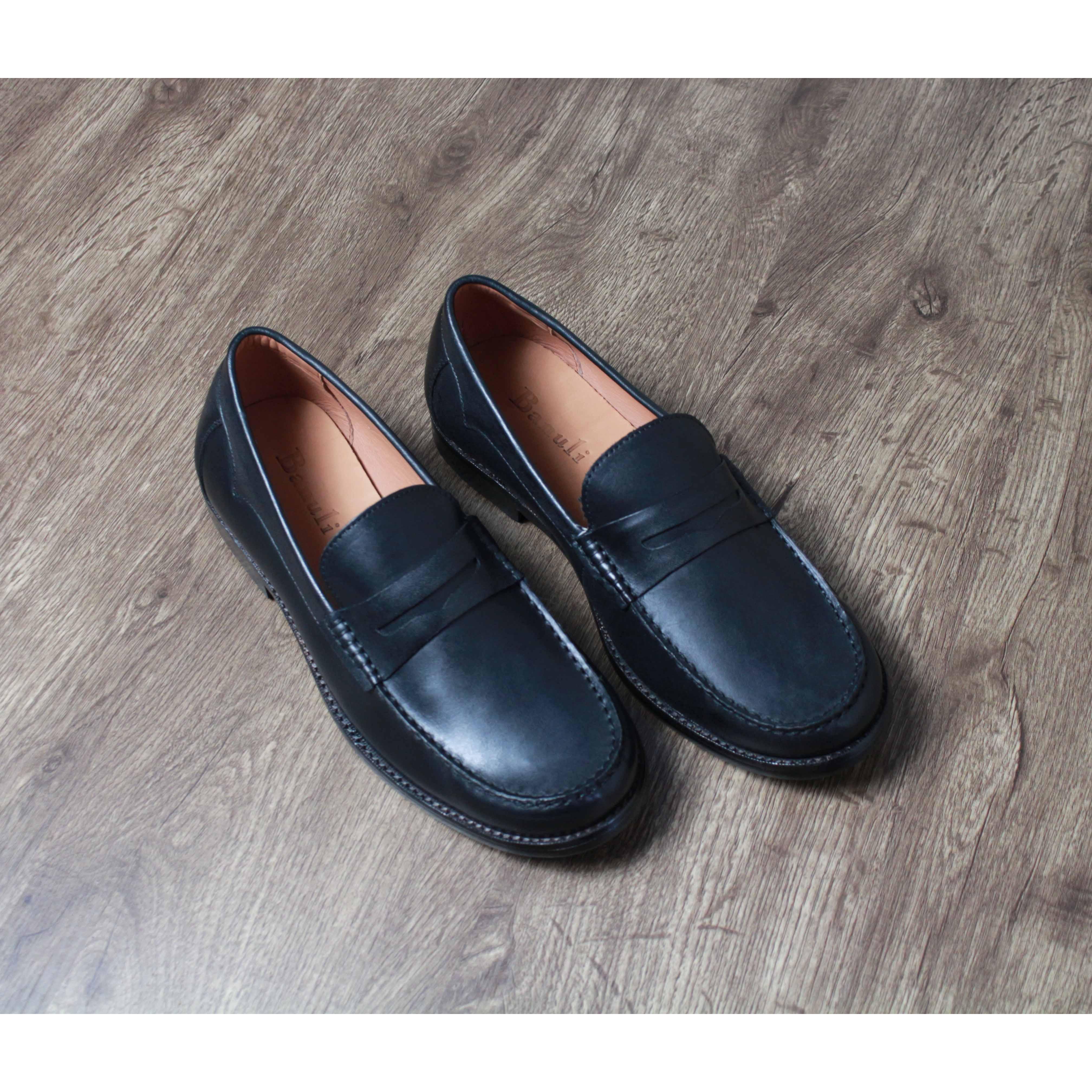 Giày nam cao cấp chính hãng BANULI, kiểu giày tây công sở lười HDPL1M0 da bò Ý, đế pháp cao su tự nhiên